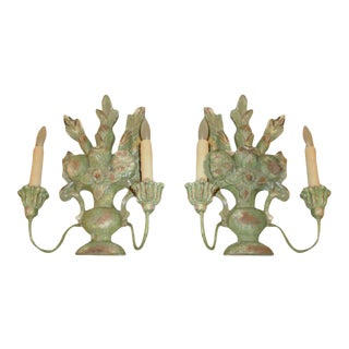 1920s Italian Two Light Carved Wood Sconces - a Pair For Sale