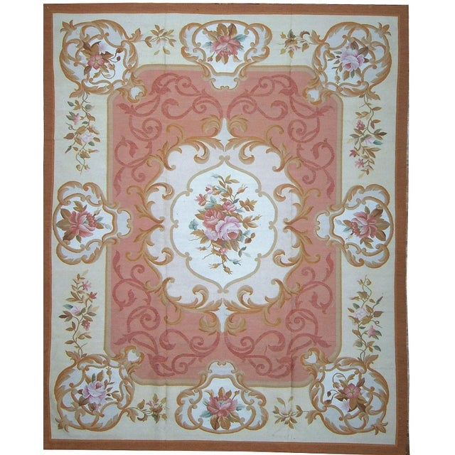 "French Pasargad Aubusson Hand Woven Wool Rug - 8' 1"" X 9'11"" For Sale - Image 3 of 3"