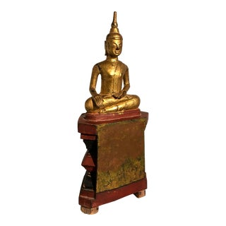 Shan Burmese Carved and Gilt Wood Buddha, 19th century For Sale