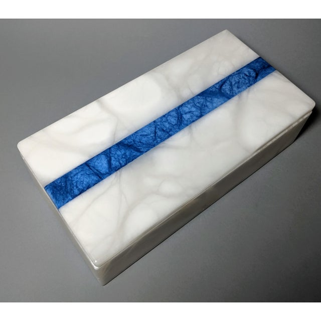 White Hermes Inspired Alabaster Box With Navy Blue Stripe For Sale - Image 8 of 13