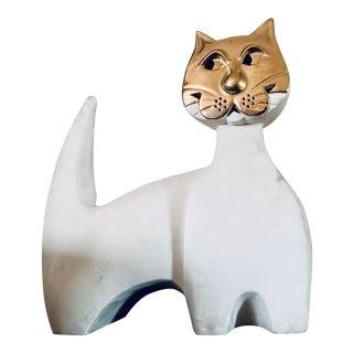 Vintage Pauline Pelletier Atelier Du Vieux Cap-Rouge Raku Cat Sculpture For Sale