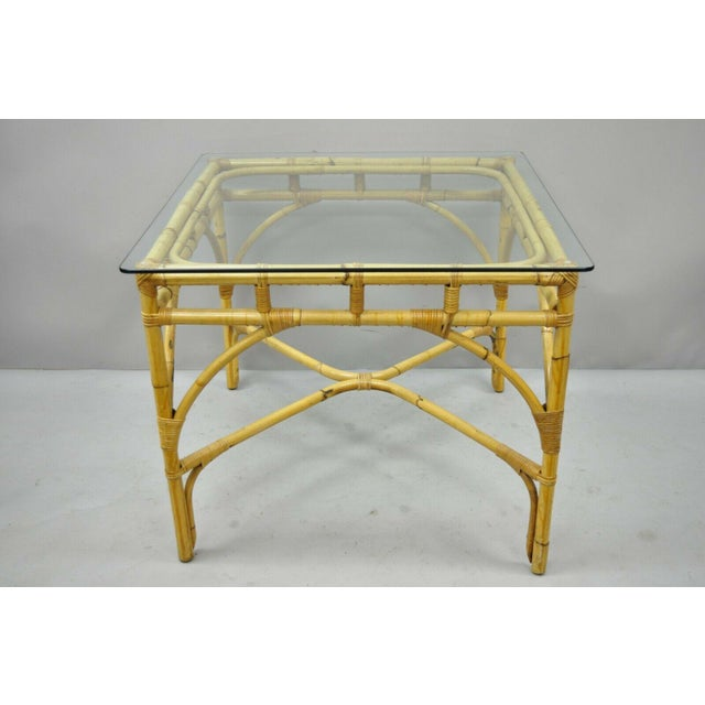Asian Chinese Chippendale Boho Chic Bamboo Rattan Faux Bamboo Dining Set - 5 Pieces For Sale - Image 3 of 13
