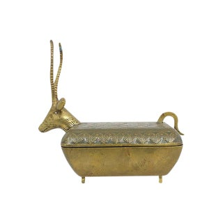 Brass Gazelle Trinket Box For Sale
