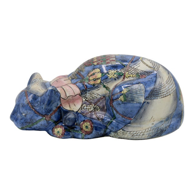 Mid 20th Century Chinoiserie Blue Ceramic Cat For Sale