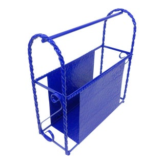 Blue Metal Office Organizer - Magazine Rack - Vinyl Record Rack