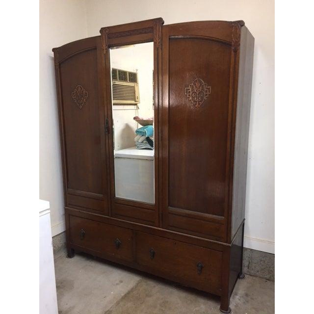 Bath Cabinet Makers 1928 Oak Art Deco Armoire For Sale - Image 4 of 6