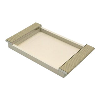 Ivory Lacquered Tray With Chrome and Leather Handles For Sale