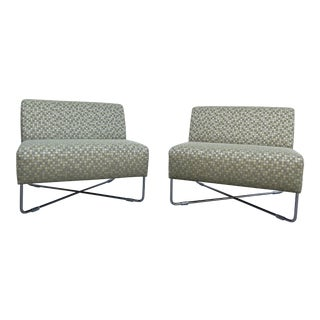 Bernhardt Upholstered Lounge Chairs- a Pair For Sale