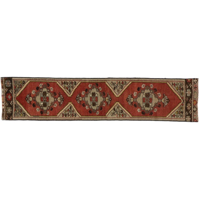 Textile Vintage Turkish Oushak Runner - 01'11 X 08'07 For Sale - Image 7 of 7