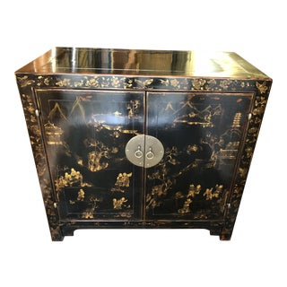 Vintage Black & Gold Lacquered Asian Cabinet