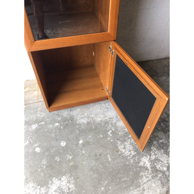 Brown Vintage Mid Century Modern Danish Style Curio Display Cabinet. For Sale - Image 8 of 13