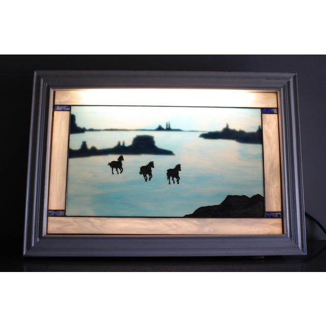Vintage 1987 Lighted Stained Glass Panel With Copper Overlay Signed Anne Ryan Miller For Sale - Image 10 of 13