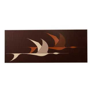 Large Midcentury Painting of Flying Geese For Sale