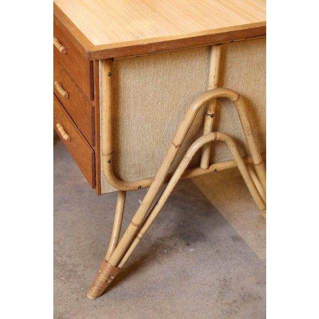 French Bamboo Desk and Chair For Sale - Image 3 of 11
