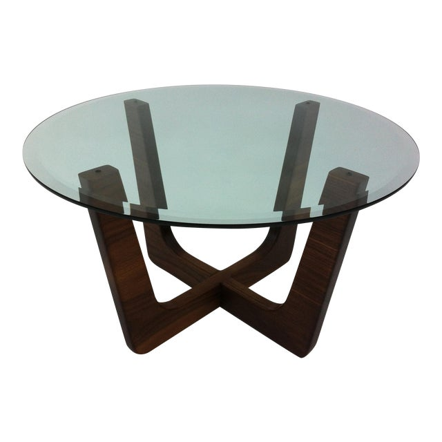 "28"" Round Glass Top Mid-Century Modern Coffee Table"