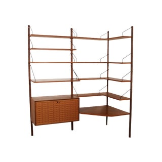 Mid Century Cado Shelving System Corner Wall Unit by Cadovius For Sale