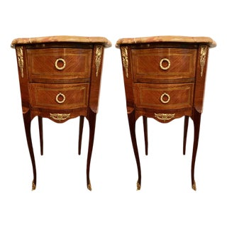 Pair of Louis XV Style Side / End Tables With Breche d'Alep Original Marble Top For Sale