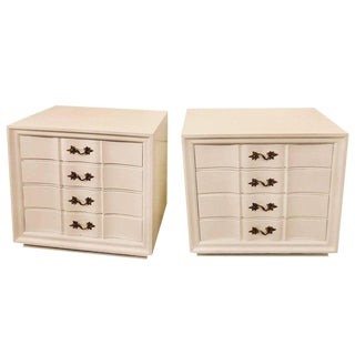 Pair of Hollywood Regency Style White Lacquered Dressers or Commode Chest
