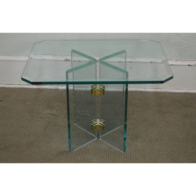 Leon Rosen for Pace Modern Glass Brass Side Table For Sale - Image 11 of 13