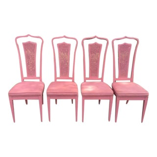 Vintage Palm Beach Pink Dining Chairs- Set of 4 For Sale