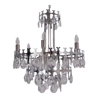 """1970s Sciolari """"Ovali"""" 12 Lights Chandelier in Silver With Optical Crystals, Italian For Sale"""
