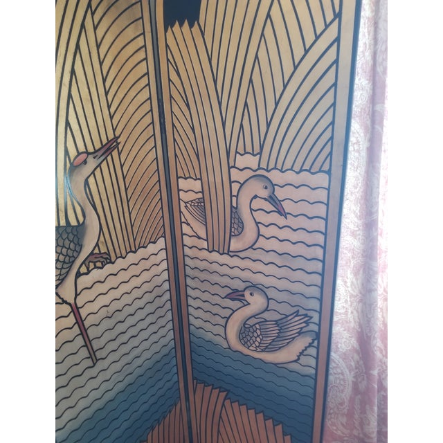 1980s 1980's Lacquer Screen Deco Revival For Sale - Image 5 of 7