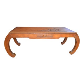 Vintage Asian Hand Carved Pine Coffee Table For Sale