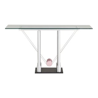 A Memphis Style Brushed Steel Console Table 1980s For Sale