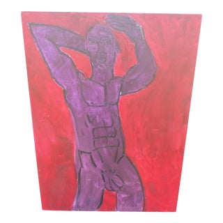 """""""Purple Man"""", an Abstract Nude on Canvas, Signed Guinsberg For Sale"""