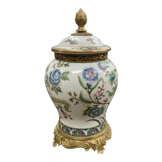 Late 20th Century Chinese Floral and Bird Decorated Ginger Jar For Sale
