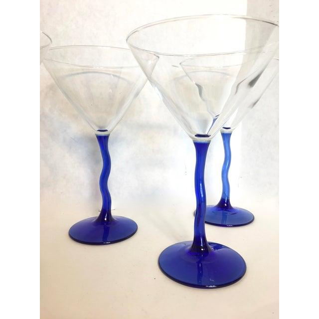 Cobalt Blue Bent Stem Martini Glasses- Set of 6 - Image 3 of 3