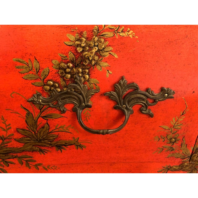 Wood 1940s Coral and Gilt Chinoiserie Bombe Style Chest of Drawers For Sale - Image 7 of 13