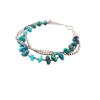 Vintage Native American Turquoise Nugget and Chain Bracelet For Sale