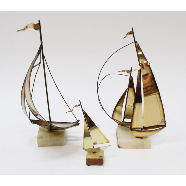 Mid-Century Modern John Perry Brass Boats - Set of 3 For Sale - Image 3 of 9