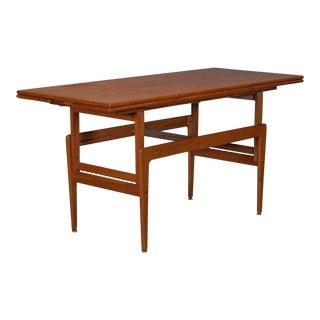 Danish Modern Teak Adjustable Coffee & Dining Table For Sale