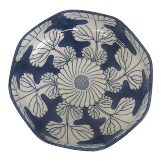 Hand Painted Blue and White Ceramic Bowl For Sale