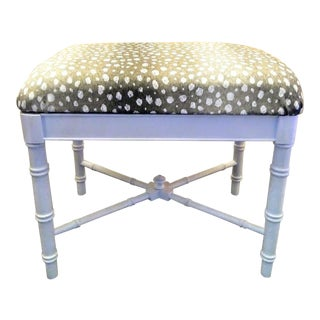 Vintage Faux Bamboo White Gloss Palm Beach Regency Bench Ottoman W/ Ocelot Fabric For Sale