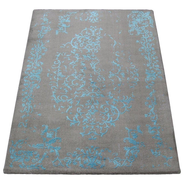 Gray & Turquoise Floral Pattern Rug - 4′5″ × 7′7″ - Image 1 of 4