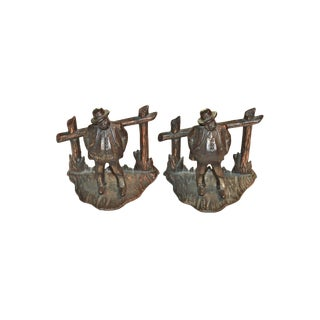 "1920s Americana ""The Boss"" Flashed Iron Bookends - a Pair For Sale"