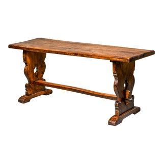Northern Italian 19th Century Walnut Trestle or Breakfast Table For Sale