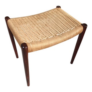 1960s Neils Moller Woven Rosewood Bench Stool