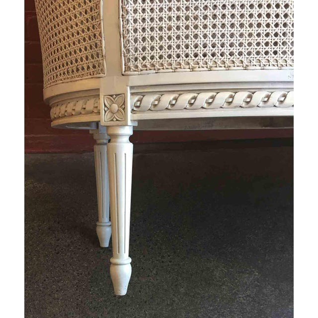 Late 20th Century White Caned Settee For Sale In Providence - Image 6 of 10
