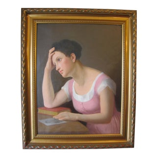 19th C. Portrait of Pensive Young Woman Painting For Sale