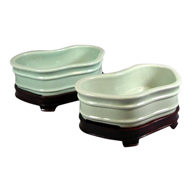 19th Century Chinese Celadon Butterfly Bowls - a Pair For Sale
