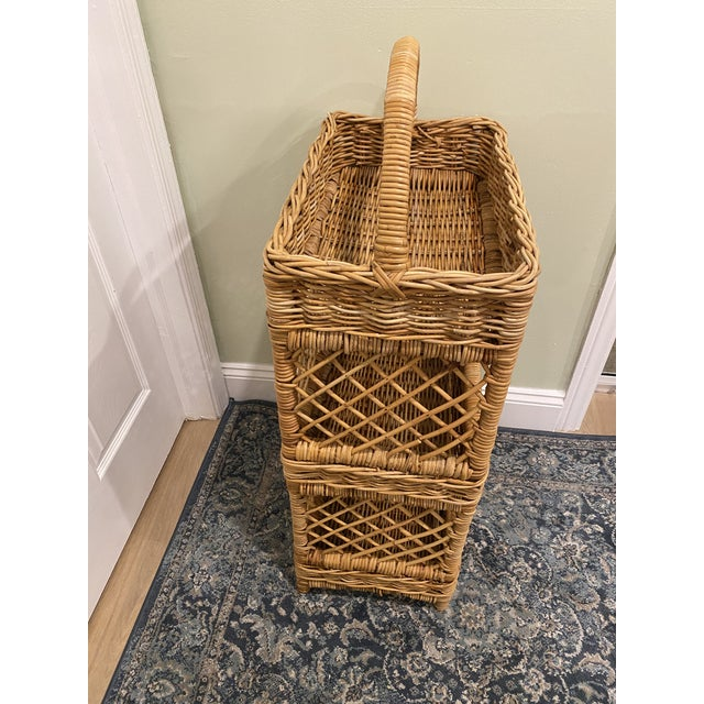1980s Large Palm Beach Wicker 3-Tier Tall Basket With Shelving For Sale - Image 5 of 10