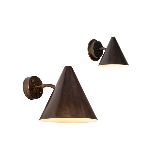 Chocolate Hans-Agne Jakobsson 'Mini-Tratten' Patinated Brass Outdoor Sconces - a Pair For Sale - Image 8 of 9