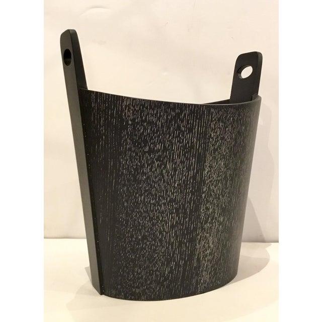 Global Views Global Views Modern Black Cerused Oak Wastebasket For Sale - Image 4 of 4