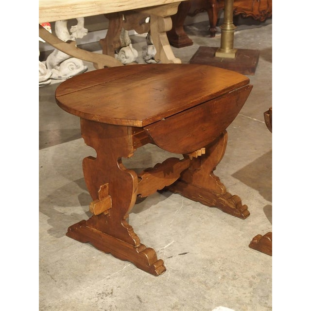 Pair of Antique Walnut Drop Leaf Side Tables From Italy, Circa 1900 For Sale - Image 12 of 12
