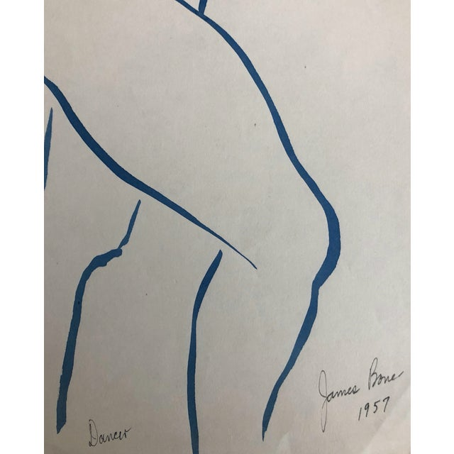 Mid-Century Modern 1957 Dancer Modern Drawing by James Bone For Sale - Image 3 of 5