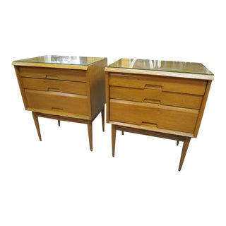 Vintage Mid Century Modern Blonde Walnut Pair of Nightstands - a Pair For Sale